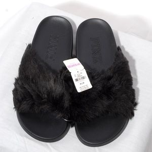 Victoria Secret Pink Black Fur Slides Medium NWT